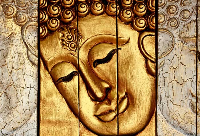 Buddha face wood carving wallpaper for spa saloon wall decor