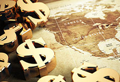 3D Dollar Sign On The World Map