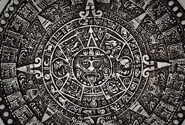 Ancient mayan calendar wallpaper in stone carving theme