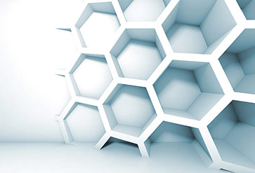 Blue 3D Interior with Honeycomb
