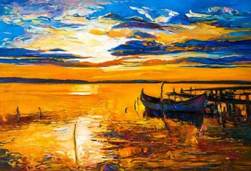 Boats and Sea on Canvas
