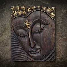 Buddha in Wood Graving