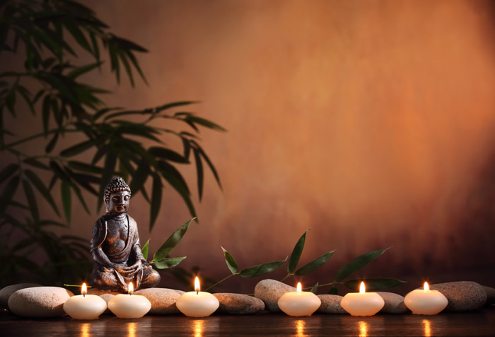 Spa wallpaper  Buddha with Burning Candles Wallpaper for Spa & Saloon Wall Decor