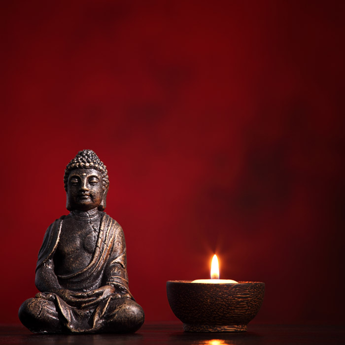 Shop Buddha With Burning Candle Wallpaper In Zen Theme