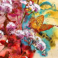 Butterfly and Abstract Painting
