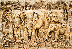 Carved Elephants From Thailand