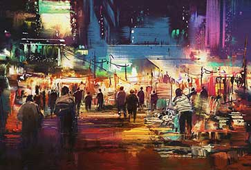 City with Colorful Nightlife