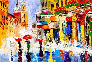 Shop Colorful Rainy Night Wallpaper In Paintings Theme