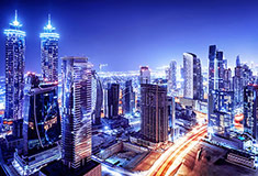 Dubai Downtown Night Scene