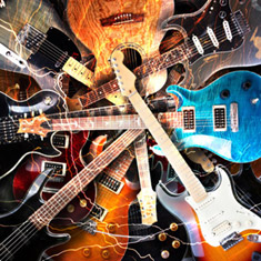 Multiple Electric Guitars