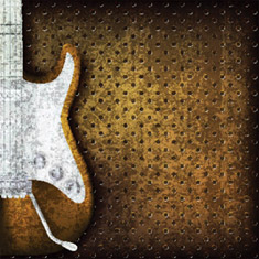 Grunge brown background with guitar