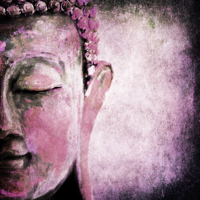 Grunge Buddha Pink Wallpaper for Spa & Saloon Wall Decor