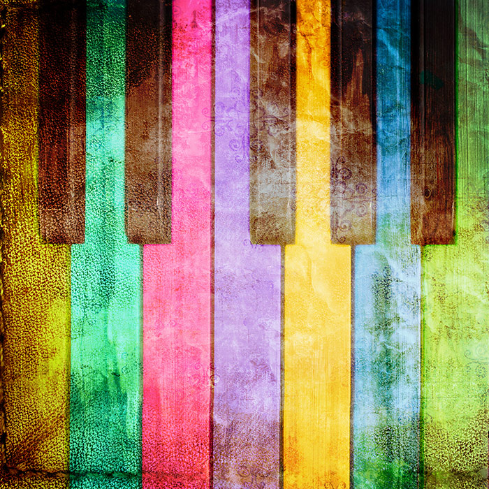 Shop Grunge Piano Colourful Wallpaper In Music Theme