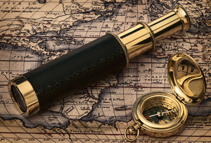 Shop Vintage Telescope and Compas Wallpaper in Maps & Geography Theme