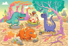 Cute Dino with Family