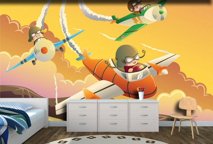 Kids In Plane Racing Wallpaper For Kids Room Decor
