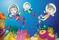 Kids in Underwater World