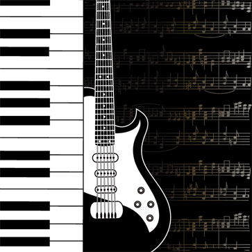 Guitar And Music Note Wallpaper For Living Room Wall Decor