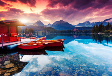 Peaceful Mountain And Lake View Wallpaper For Living Room