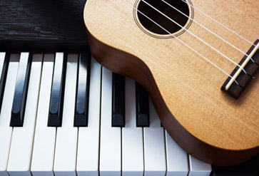 Shop Piano Key And Ukulele Wallpaper In Music Theme