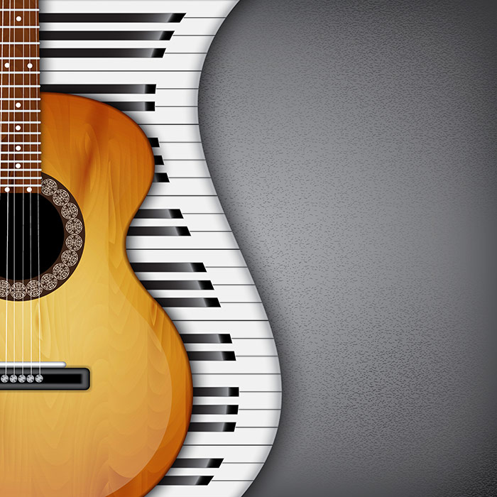 Shop Piano Keys And Guitar Wallpaper In Music Theme