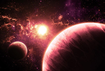 Pink Planet and Moon