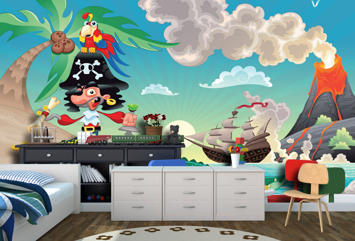Pirate On The Island Wallpaper For Kids Room Decor