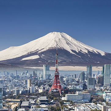 Tokyo Tower With Mountain Fuji Wallpaper For Living Room
