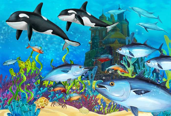 Underwater Castle Wallpaper For Kids Room Decor
