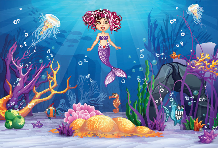 Underwater World With A Mermaid Wallpaper For Kids Room Decor
