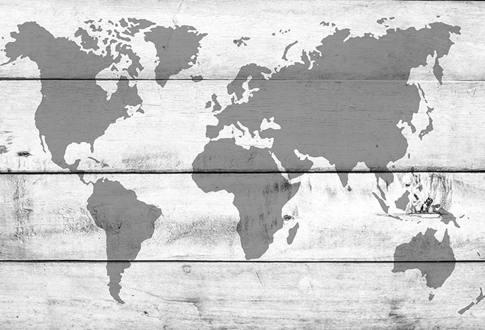 Plank Wood And World Map Wallpaper for Offices Wall Decor