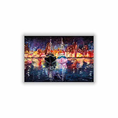 Boats at Night on Canvas