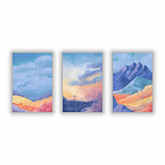 Landscapes in Pastel Colors Set